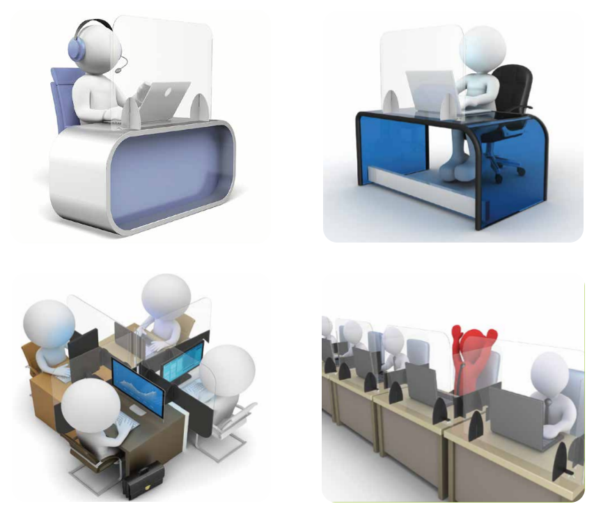 Mamparas de metacrilato protección frontal para oficinas