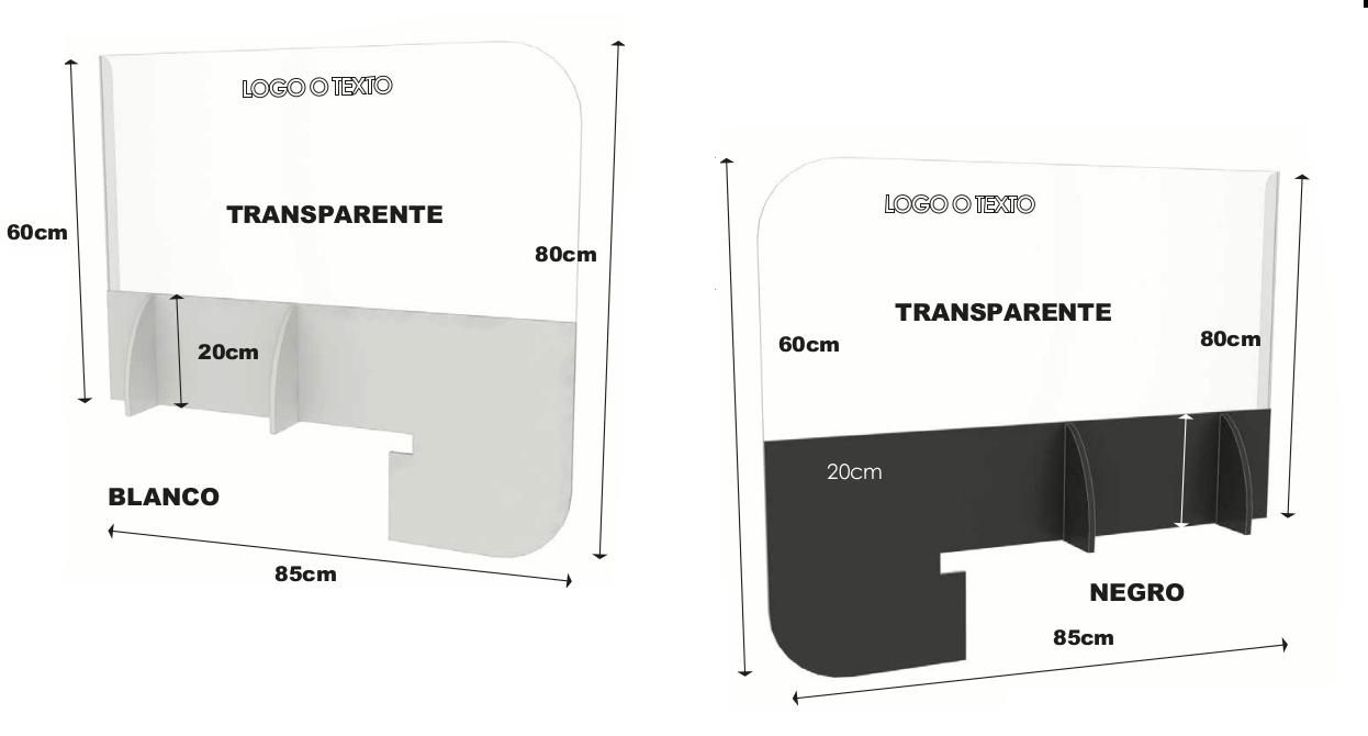 Mampara para Comercio y Oficinas (Modelo Separadores Sencillos)